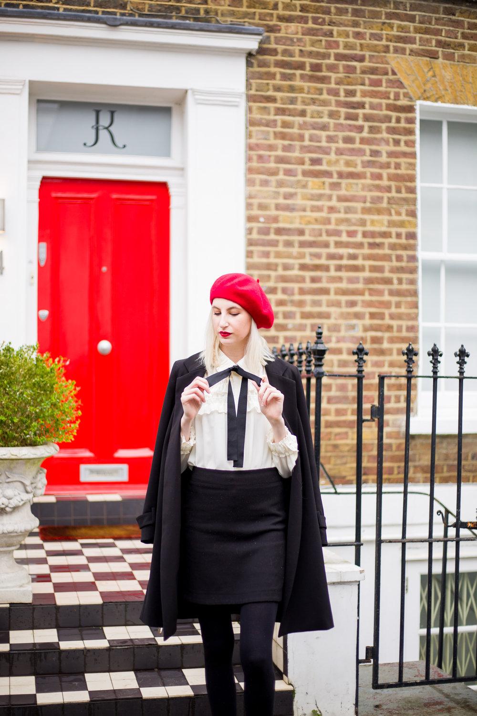 Audra Koch zara ruffle tie bow neck top, red beret, notting hill london uk