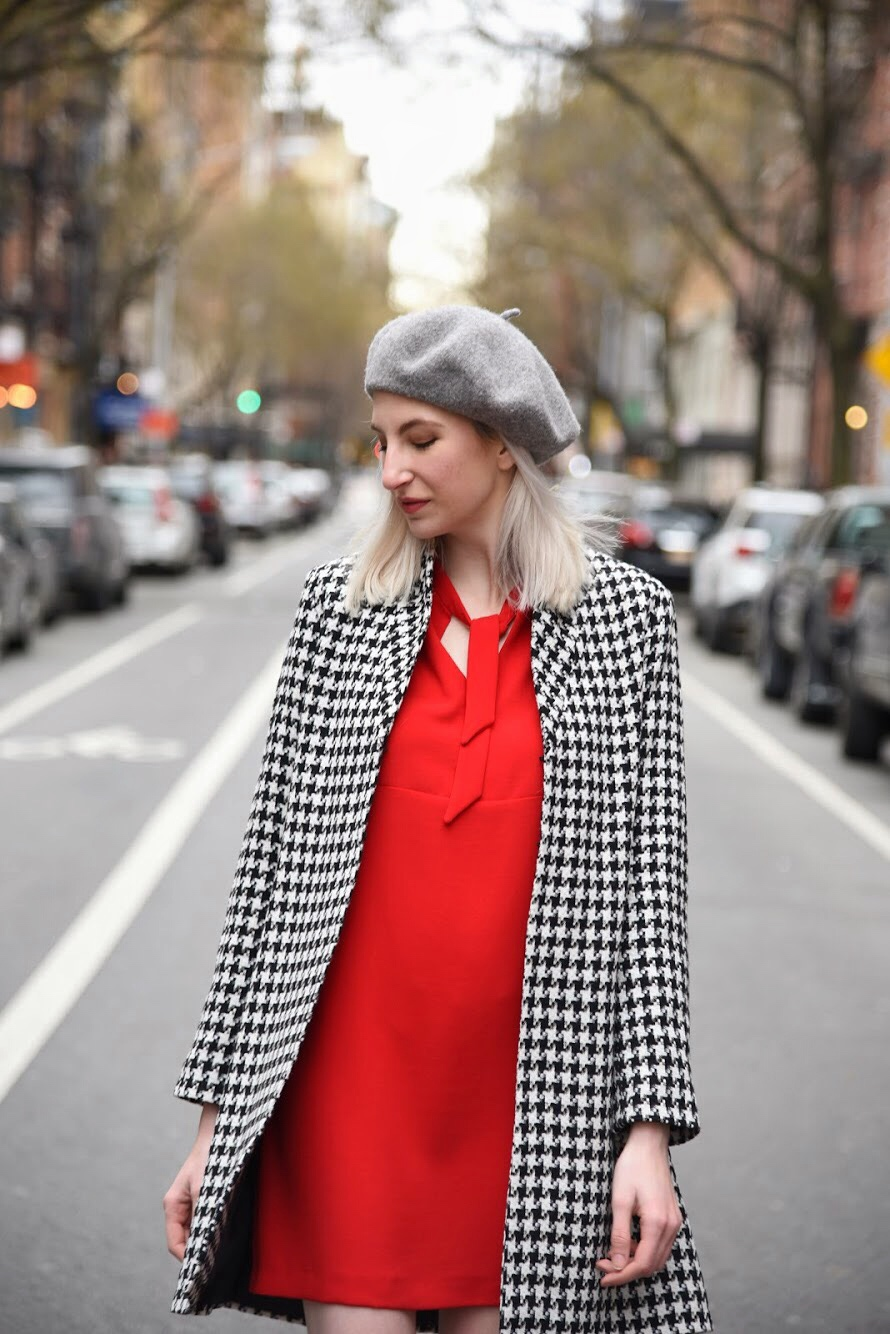 valentines day outfit, vday look, red dress, beret