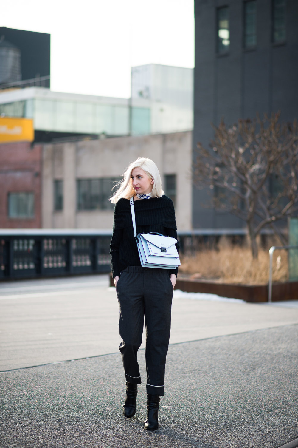 loeffler randall bag, j.crew pj pants, silk scarf, outfit ideas for women, fall and winter fashion
