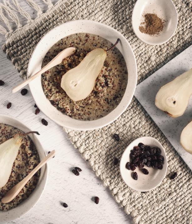 Poached Pear Quinoa Porridge