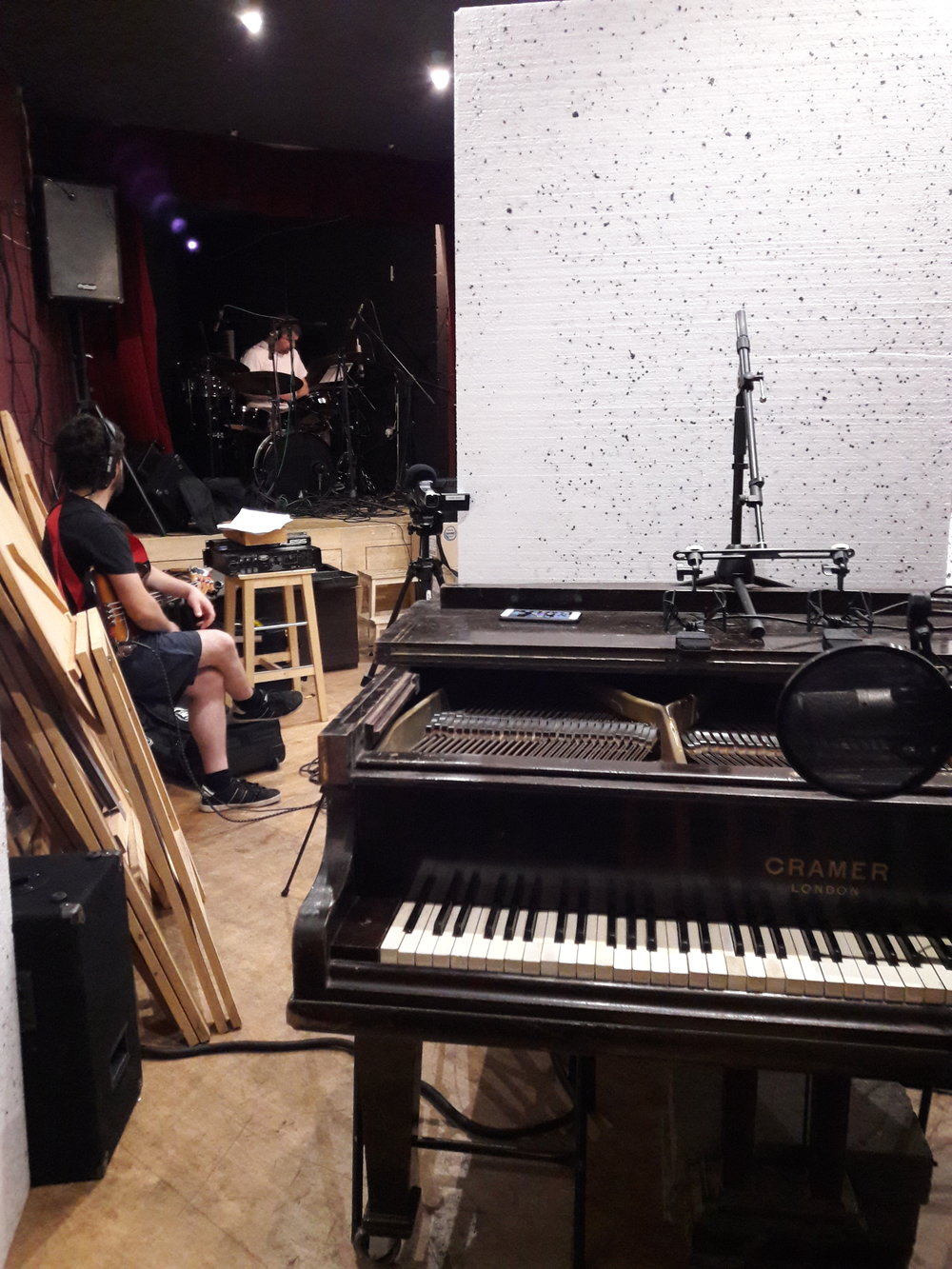 Piano & drums live room set-up at The Brook