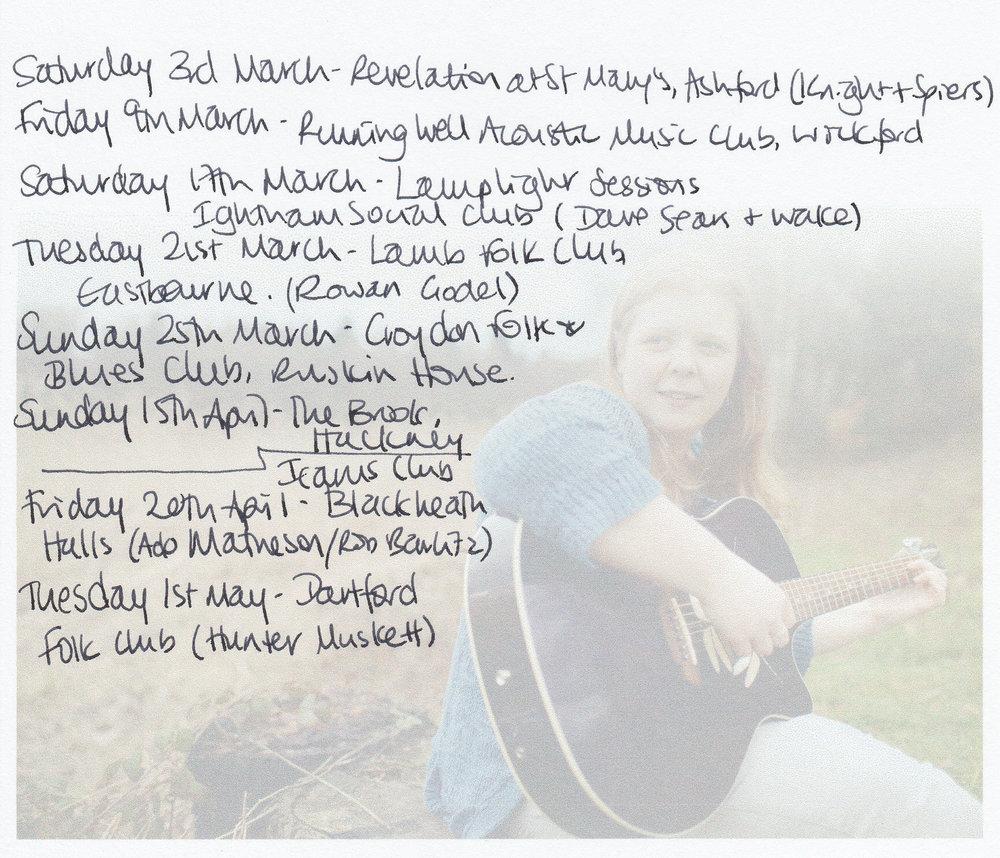 Current gig listing