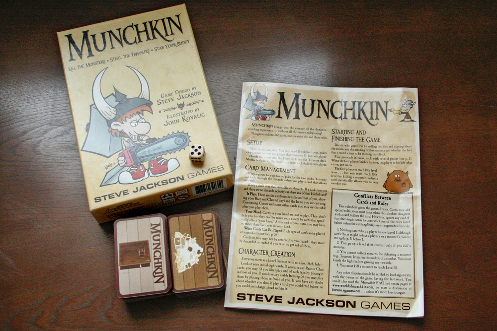 Here is what you get in the box: one die, two decks (the door deck and the treasure deck), and the rules/setup instructions.