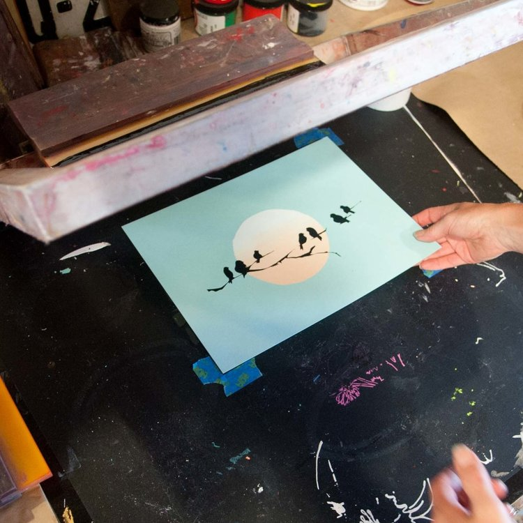 5d23fb88c JULY 18 // MULTI-COLOR SCREEN PRINTING WITH CUT STENCILS — Atelier