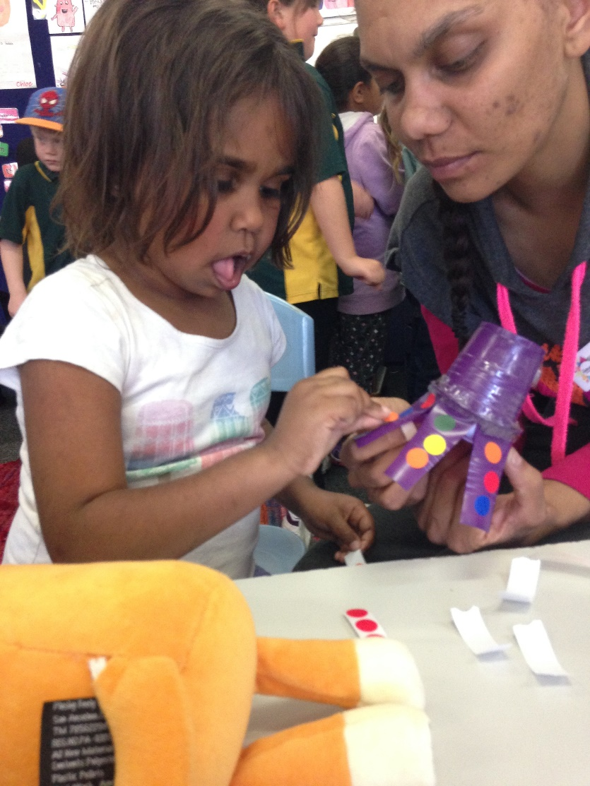 Above: Nessa doing some Huggtopus craft with Rhanee Tsetsakos, Port Augusta Community Wellbeing Coordinator