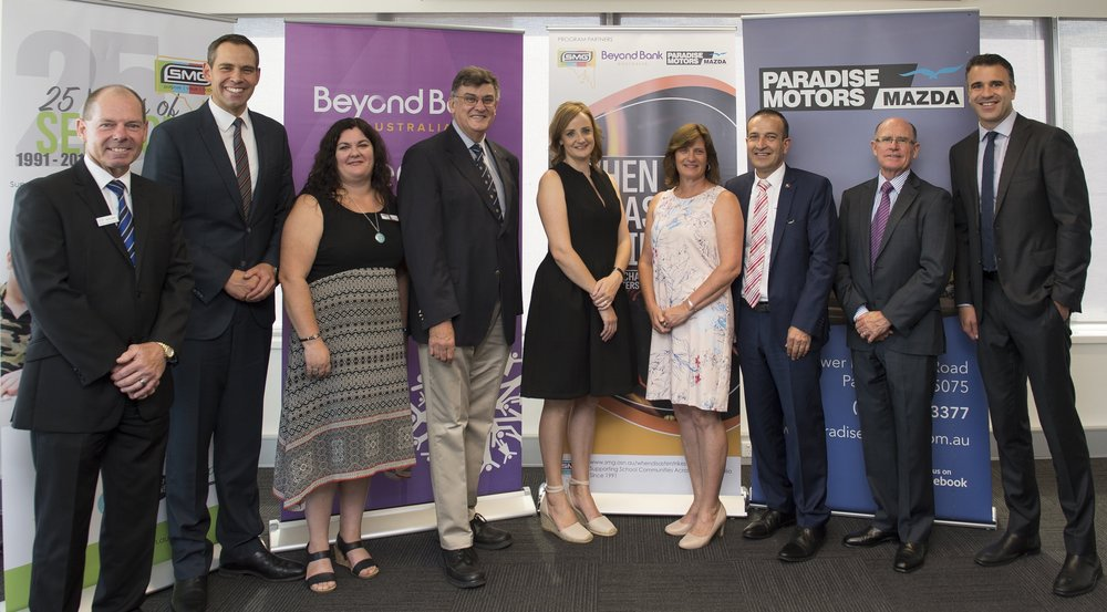 When Disaster Strikes Launch at Beyond Bank. L to R: Kevin Bew, Paradise Motors Mazda; Brenton Ragless, SMG Ambassador; Angela Jolly, SMG Executive Director; Rev Dr Lynn Arnold, SMG Chairperson; Jessica Jenke, Tarlee Primary School Parent; Tracey Butter, Tarlee Primary School Chaplain; Hon. Tony Piccolo MP; Robert Keogh, CEO Beyond Bank and Hon. Peter Malinauskas MP
