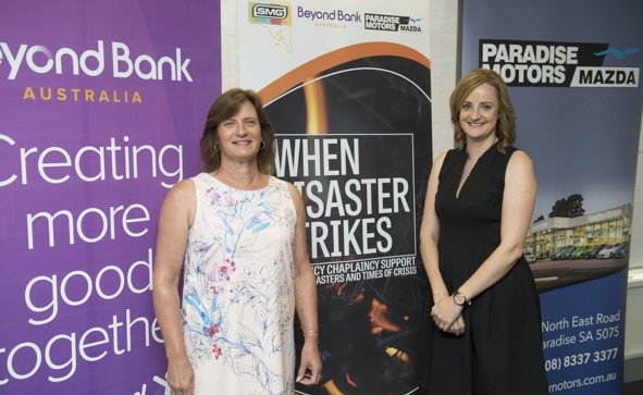When Disaster Strikes Launch at Beyond Bank. L to R: Tracey Butter, Tarlee Primary School Chaplain and Jessica Jenke, Tarlee Primary School Parent