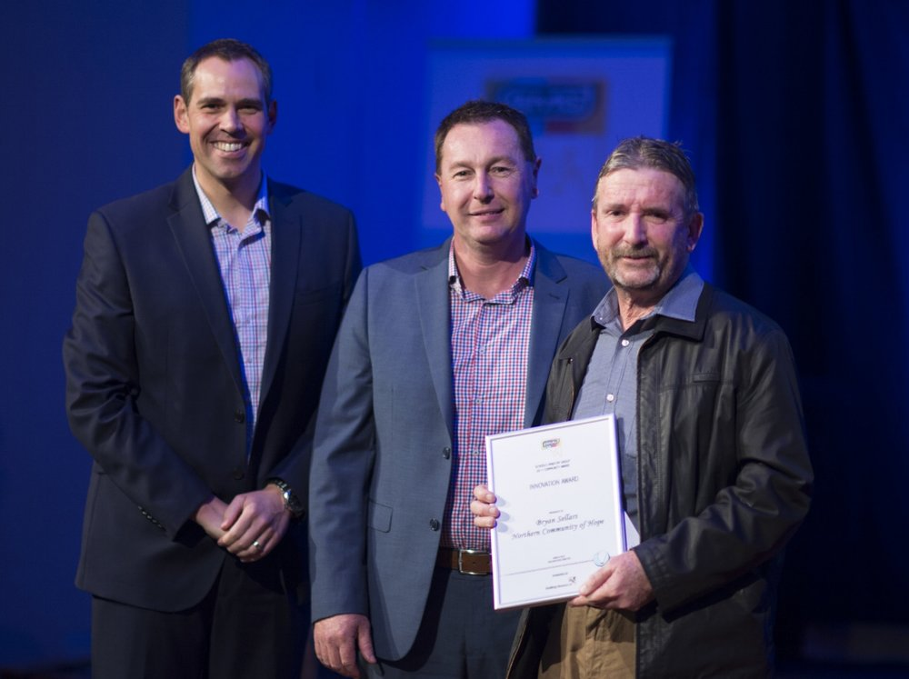 above: SMG Ambassador, Brenton Ragless, Uniting Venues SA General Manager, Mark Lee and Award recipient Bryan Sellars from Northern Community of Hope