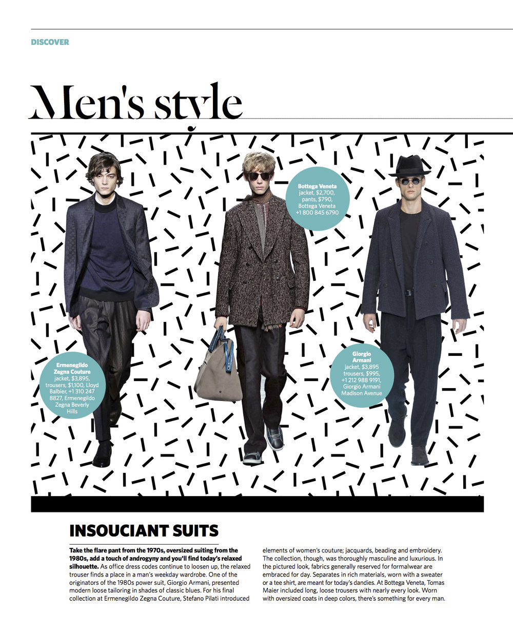 July/August 2016   Slouchy Suiting Trend Report