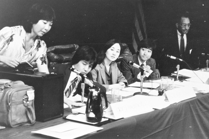 My mom in the middle testifying at the Seattle CWRIC hearing, about to drop some knowledge. From the National Archives and Records Administration via Densho (Source)