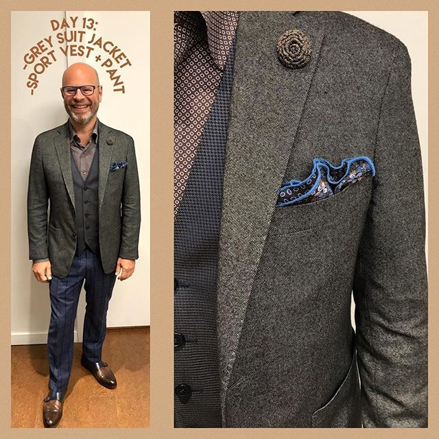 Lucky number 13!  Happy #fridaythe13th of our #wardrobemath challenge.  Blair's rockin' a funky look to give you some weekend outfit #inspo - pairing his grey suit jacket with his funky sport vest and pant and mixing it up, as always, with interesting accessories. . . . #customsuits #vancityvogue #bespoke #ootd #mensweardaily #yvrstyle #suits #suitstyle #stepupyourgame #customshoes #bsinthewild #vancitystyle