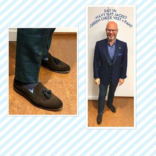 Day 14!  On Saturday, Blair was rocking his navy suit jacket and green check vest and pant...but today, he's waving the white flag!  Swipe through to see the outfit he chose for his first day off the #wardrobemath challenge.  Blair's no mathlete, but he suspects he could've gone at least another 16 days with the four original outfits had he not been itching to break free and show the rest of his closet some love! . . . Hope you've enjoyed learning how to build a wardrobe that works for you, and how to maximize your pieces to get the most out of your closet! . . . Inspired?  Use #wardrobemath to show us how you're mixing and matching! . . . #ootd #buildingwardrobesforlife #blairshapera #customshoes #customsuits #vancityvogue #bespoke #dailyhivestyle
