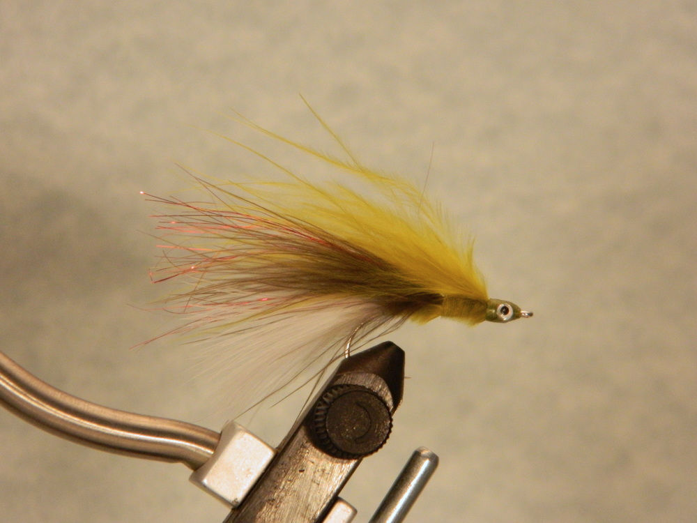 Lahontan Redside Minnow, $3.49 per pair.  Olive over black over white marabou.  The bait fish of the Truckee River and Lake Tahoe.