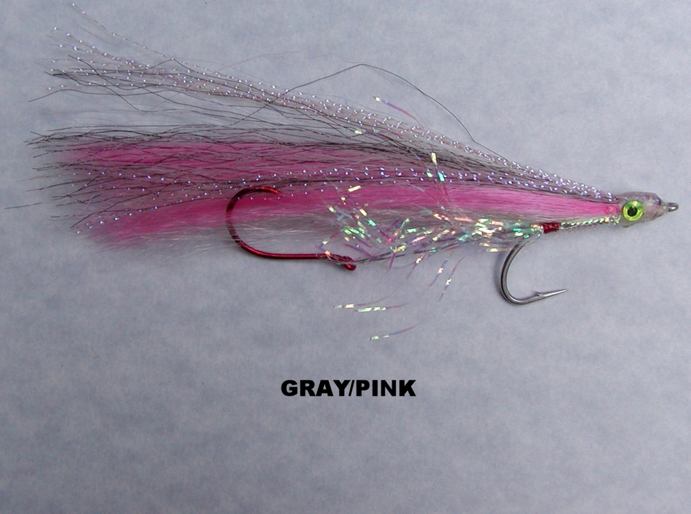 GRAY/PINK is a traditional west coast Vancouver Island salmon color scheme.  The pink is UV reactive and it has accents of Krystal flash and pearl mylar to reflect available light.
