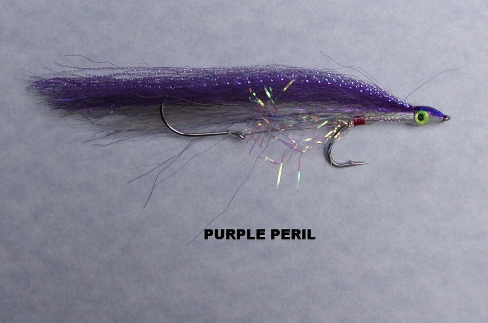 PURPLE PERIL:  Purple is the deep water color and I needed to have at least one fly with this color.  The back features UV Purple Krystal Flash to provide a bit of flash to this fly.