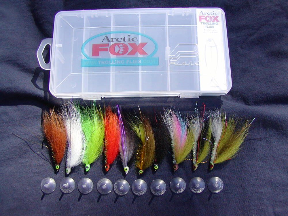 Arctic Fox 10 fly selection with box, price $29.95