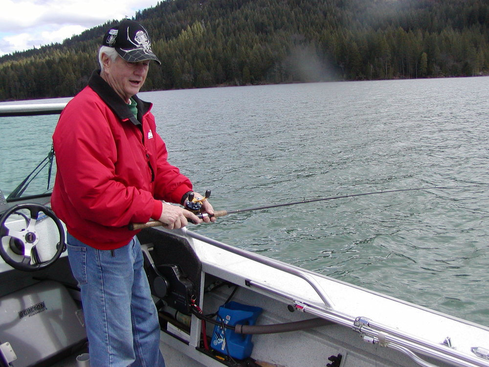 "Jim Bringhurst at his preferred fishing position on his boat.  The lake surface ""ripple"" is perfect for fish to be shallow."