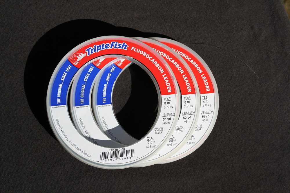 I have been asked for reasonably priced Fluorocarbon leader material. I found this from a salt water manufacturer/supplier. I tested this product and it is strong and supple for tying knots. 50 yards per spool, spool large enough to slide on to wrist when rigging multiple rods, great line diameter to break strength ratio. $8.95 per 50 yard spool. Choice of 4#, 6#, 8# & 10#. If you want stronger leaders contact me. I can add more options.