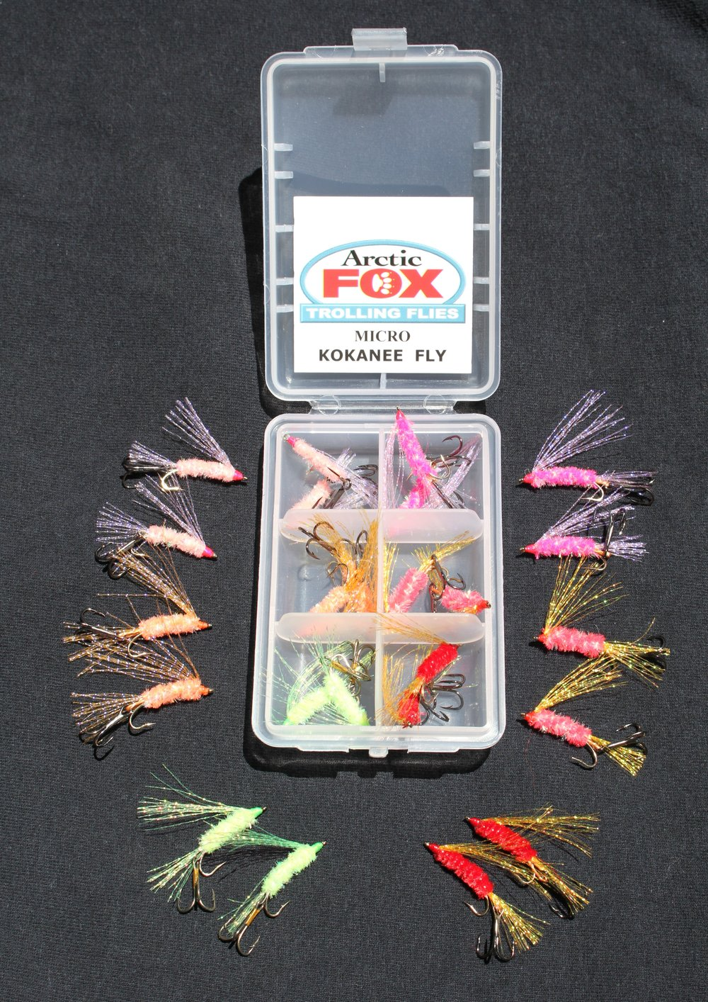 12 Fly Selection  of my most popular Kokanee Flies.   Two each of:  Hot Pink, Shell Pink, Fire Orange, Flo Orange, Chartreuse and Fire Red, in a six compartment plastic box..  Free shipping on orders over $28.00.