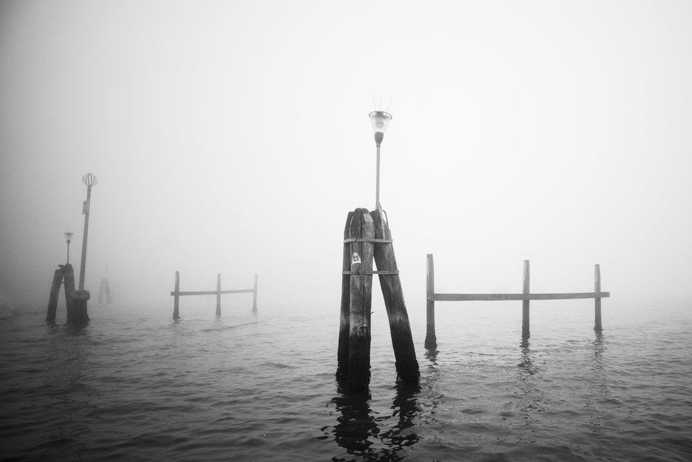 Departing Venice, tide markers     Leica Monochrom 1/1250s F13 ISO650