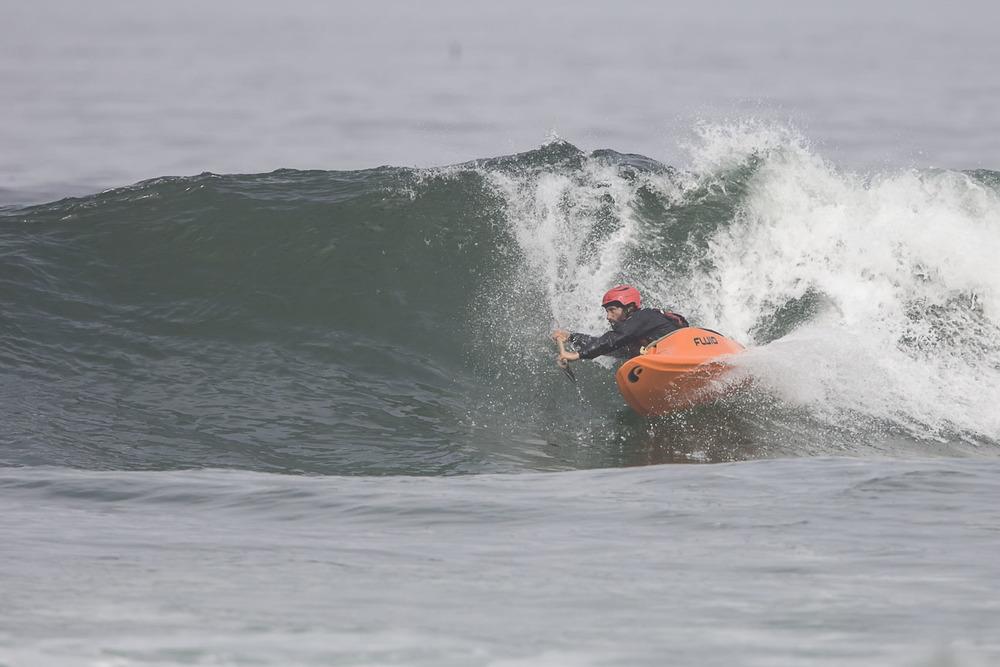 surf kayaking on the mendocino coast