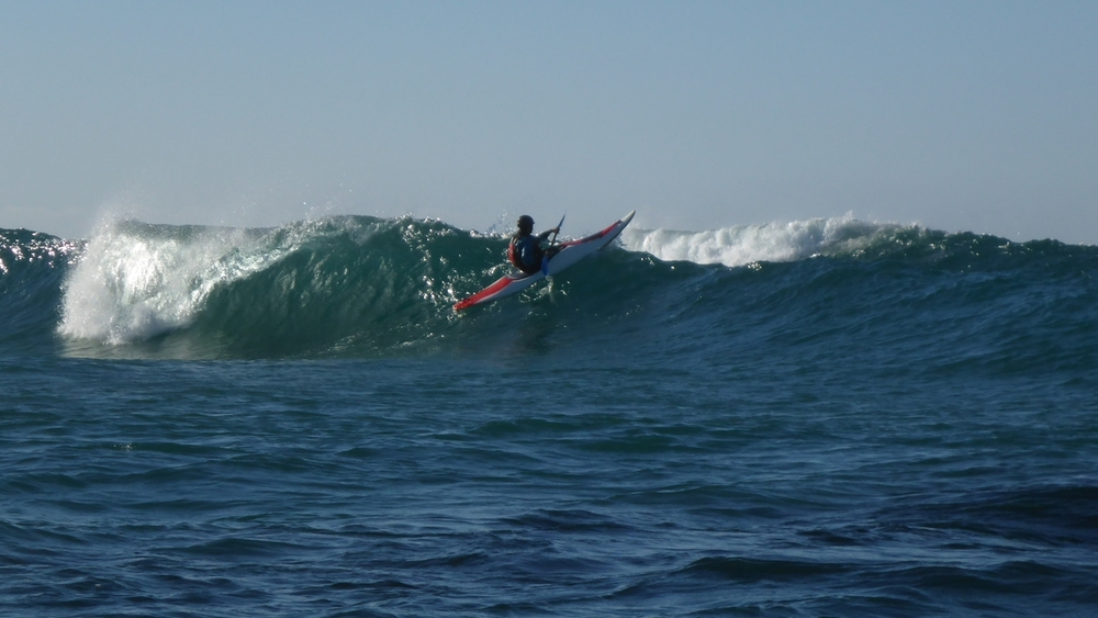 surf kayaking on mendocino coast