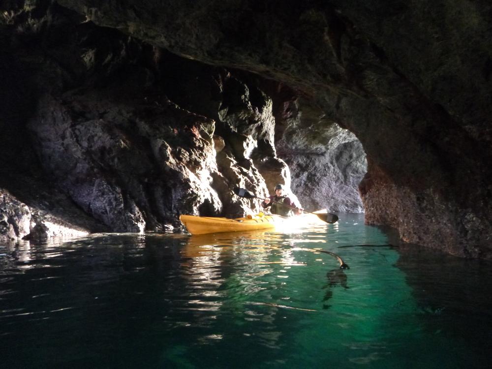 Mendocino sea cave kayaking