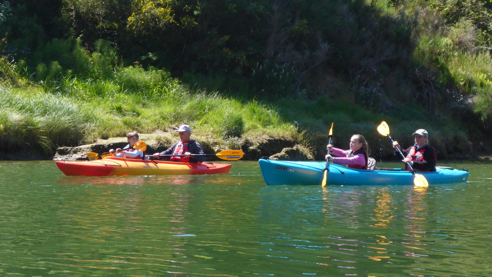 Another gorgeous day for a family kayaking on the Noyo River.