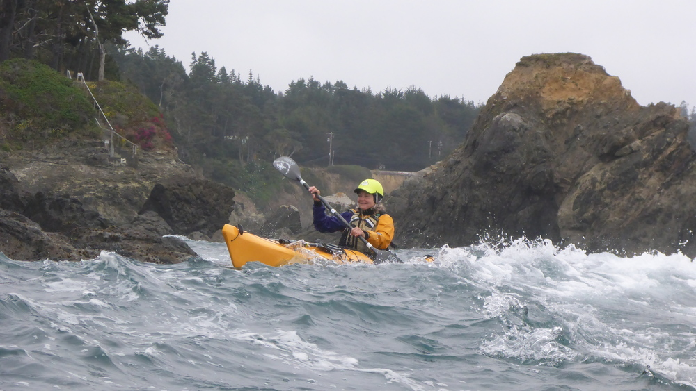 Sea kayak rock garden instruction on the Mendocino Coast