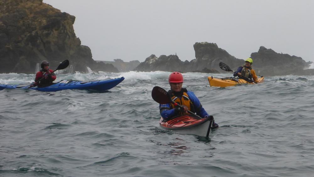 Ladies sea kayak rock garden tour on the Mendocino Coast