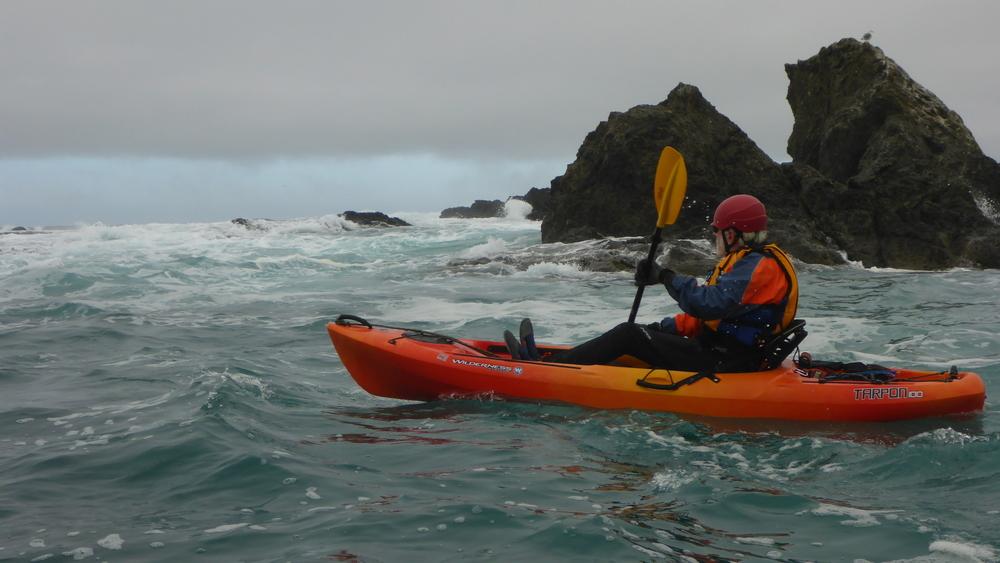 Ocean kayak class on Mendocino Coast