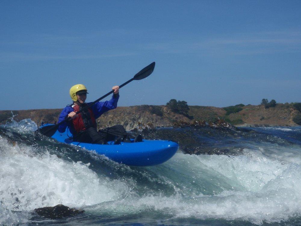 Ocean whitewater kayaking on the Mendocino Coast of California