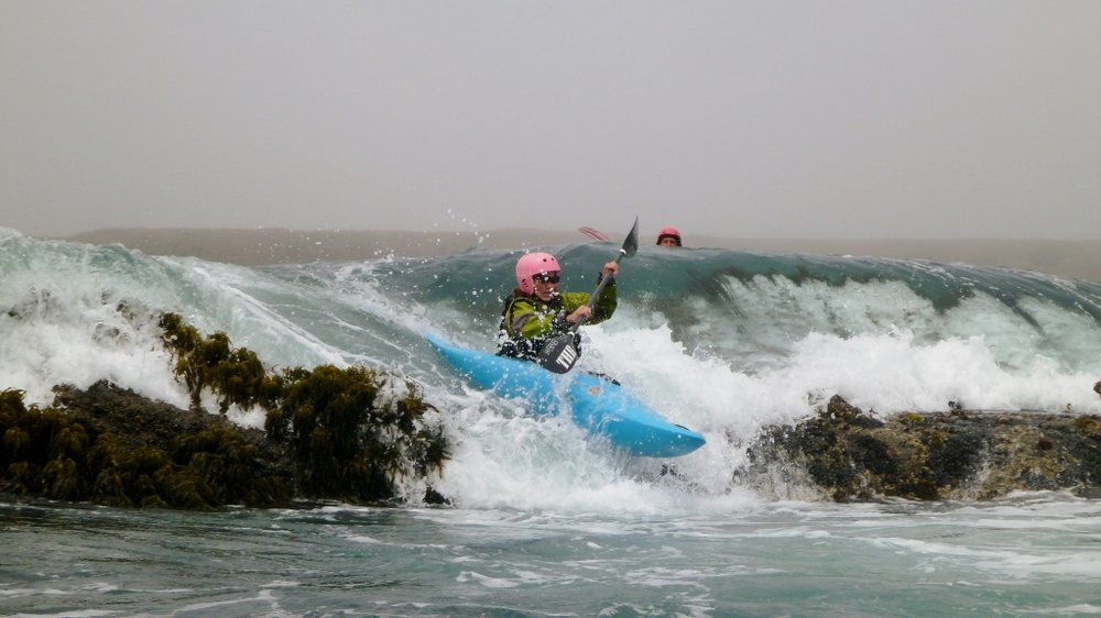 Rock gardening in whitewater kayaks on the Mendocino Coast