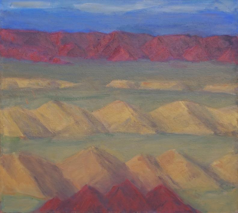 174.a Faultee basin of volcanic tuf between ranges of red volcanic rocks 36x40 2012.web.jpg