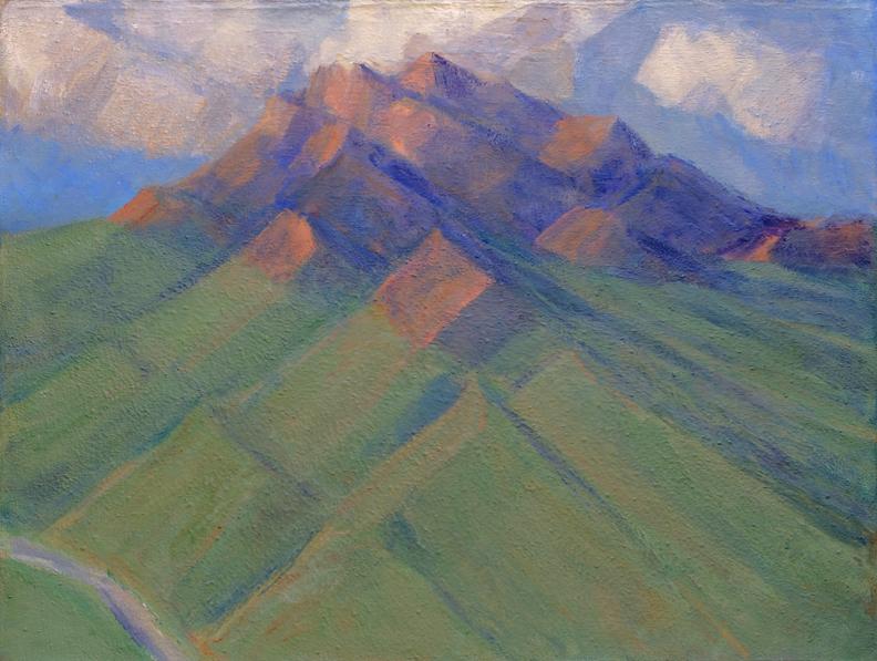 163.Rocy Peak on Broad Terrain of Sage-Covered Deposits, 40x53 2008-2014.web.jpg