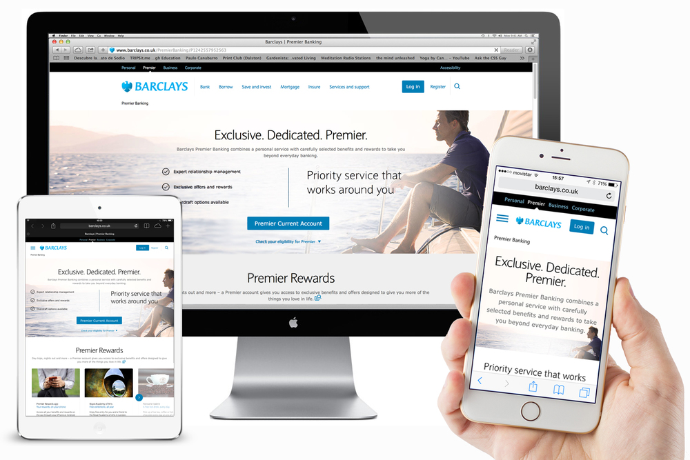 Final look and feel of the new barclays.co.uk branding across mobile, tablet and desktop