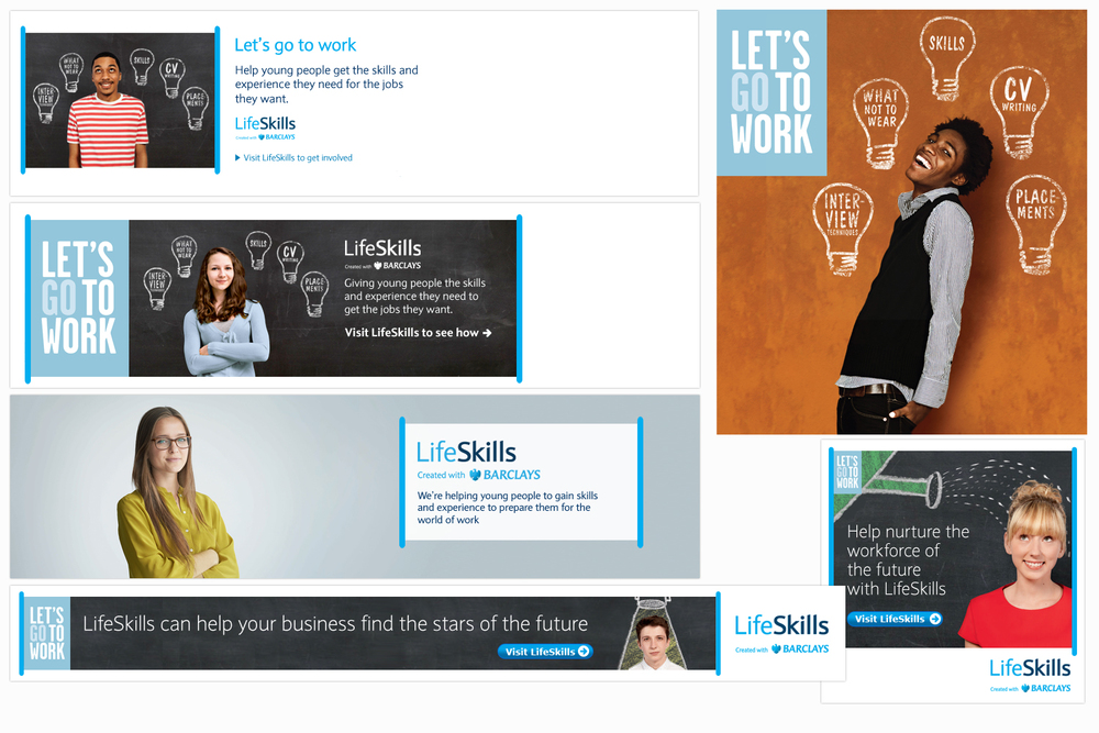 Samples of assets produced within Digital to support Marketing's Life Skills campaign