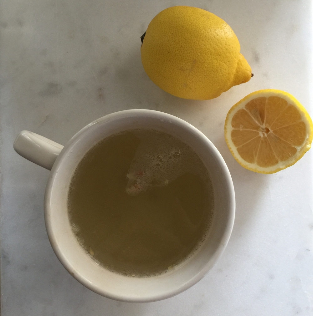 during - cup soaking with lemon/baking soda mixture.