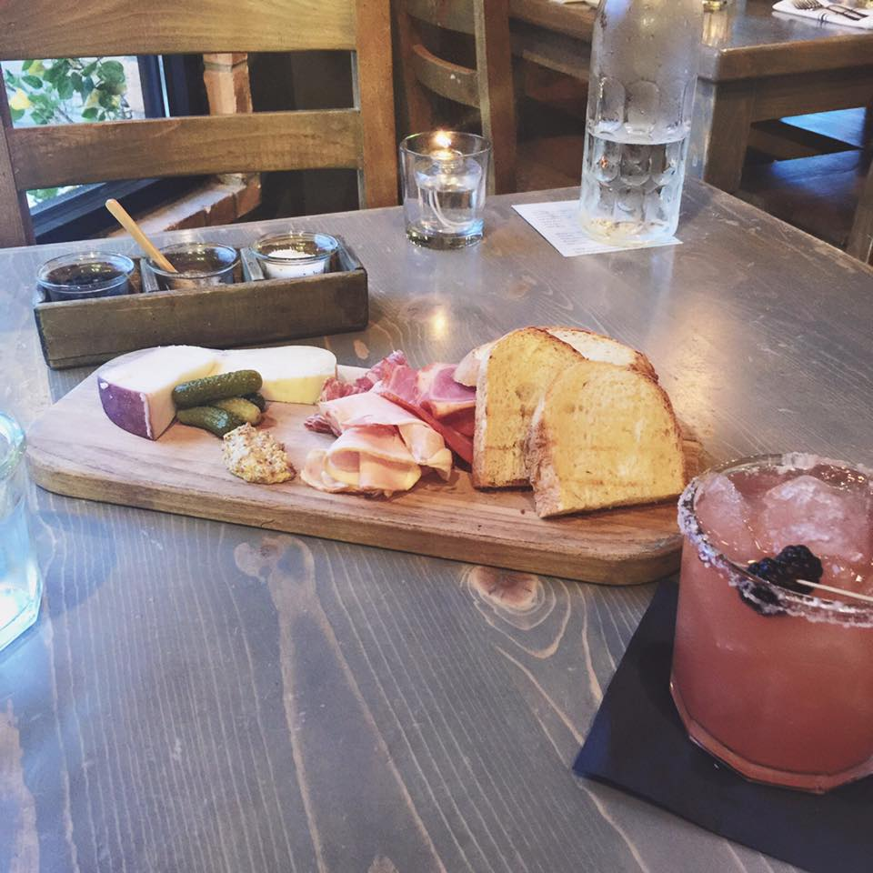 we usually order the salt board as a starter (we have a thing about cheese boards. they just feel so decadent.) this one featured our usual favorites, plus a cheese with a purple rind, due to it's being aged in merlot.