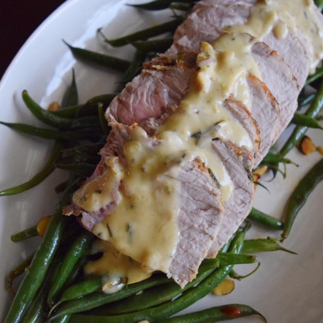 roasted pork loin with white wine sauce -