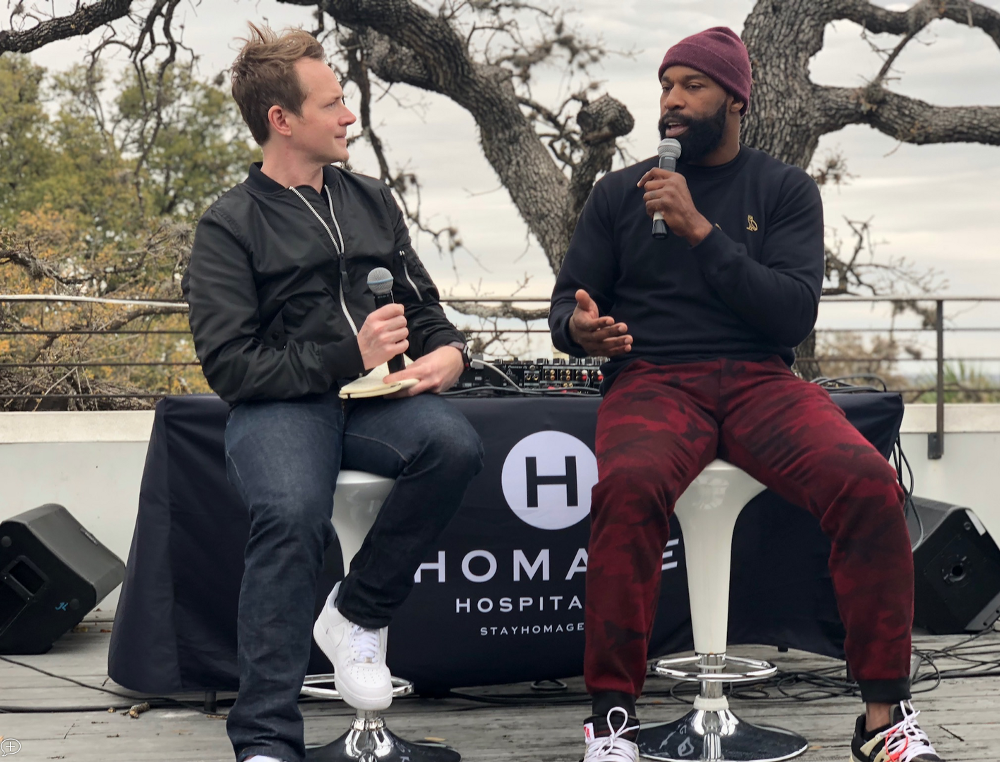 Baron Davis (right) speaks about his career and technology innovation at #CultureHouse in Austin, TX during the 2018 SXSW Interactive Festival