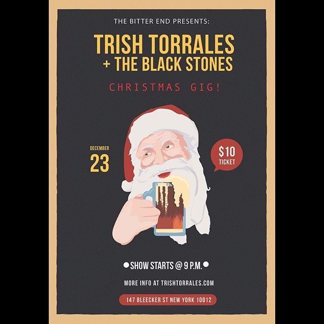 CHRISTMAS SHOW ALERT 🚨 we haven't played in 3 months so it's only fair that everyone comes to party with Santa 🎅🏼#TrishTorrales #supportlocalmusic #trishtorralesandtheblackstones #christmasgig