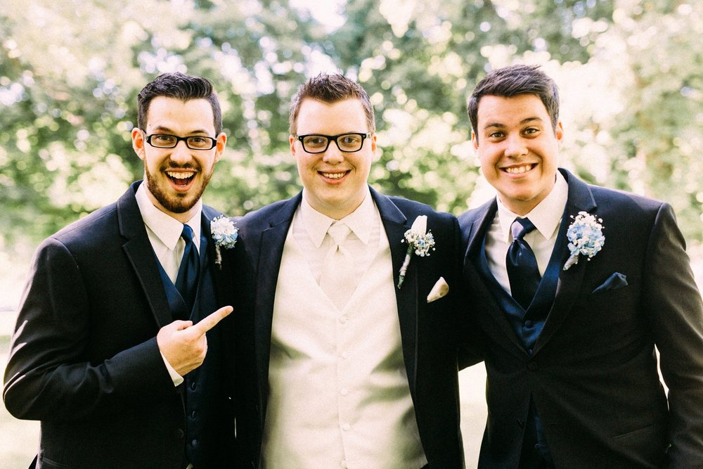 Three handsome brothers at Lucas' wedding
