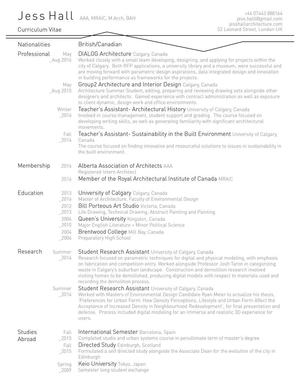 resume jess hall