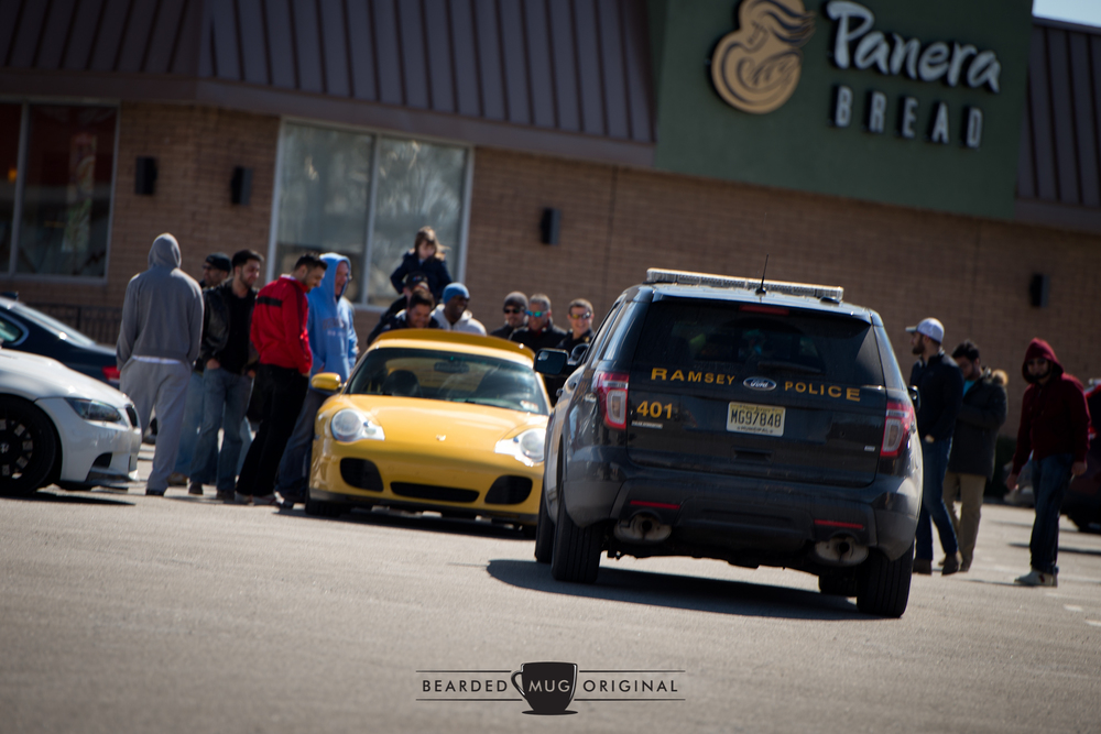 Only one Ramsey police SUV rolled into the lot and actually socialized with some of the participants, even smiling when the owner of a yellow 996 Turbo was happily letting the flat-6 rev to redline and backfire with a bang.