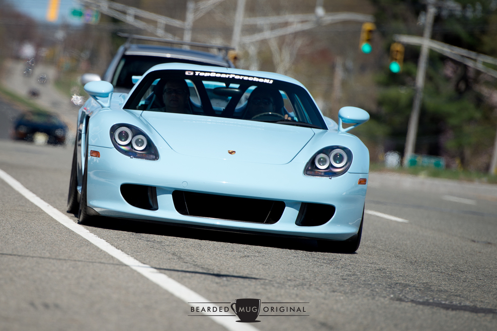 Top Gear Porsche brought out their Gulf Blue Carrera GT. If you look closely, you can see the heat from the engine disturbing the air above it.