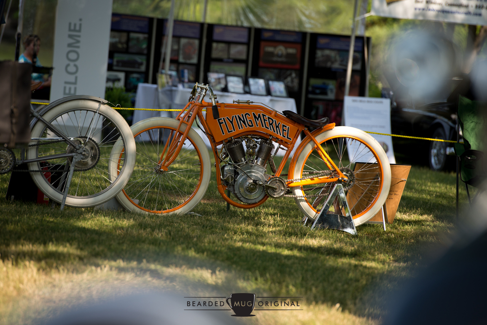 There was a great display of historically significant motorcycles on both days, with a few early 20th century bikes on Saturday, such as this 1914 Flying Merkel.