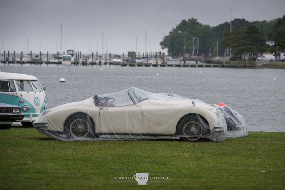 Friday's rain resulted in many of the auction automobiles being covered in what can only be described as shower caps for cars.