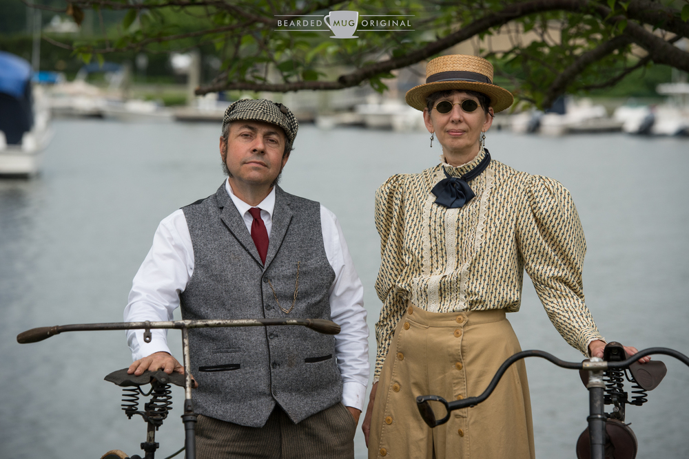 On Sunday, John was joined by his wife, Florence Klecha. Together, the pair showed off their European collection of late 1800s bicycles and wardrobe.