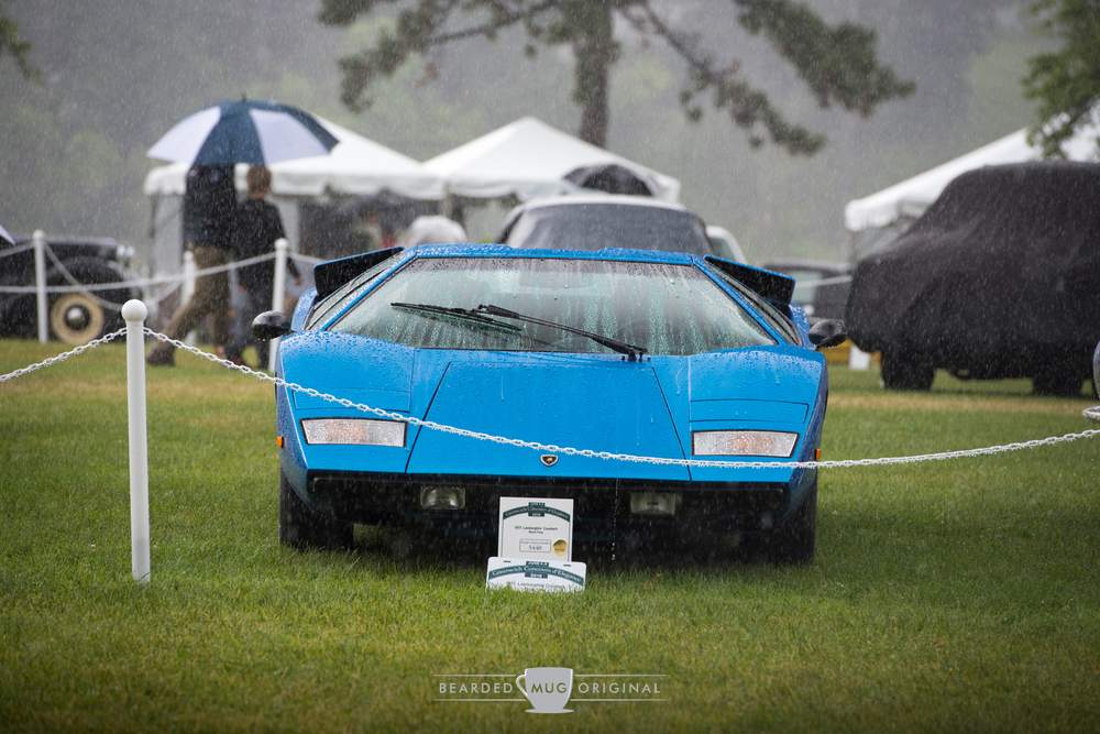 Sunday's rain did little to deter most cars from coming out. Being submersed in a downpour seems appropriate for this 'Periscopio' Countach.